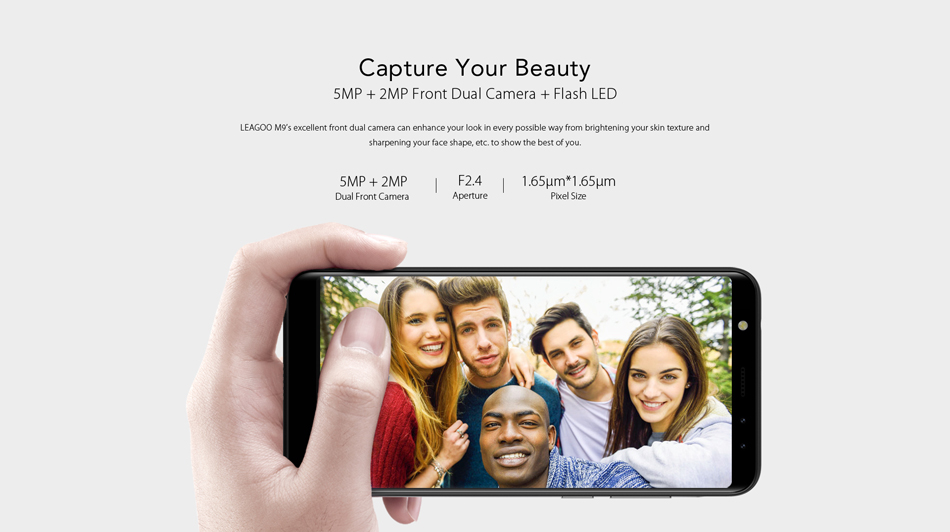 Leagoo M9 5.5 Inch 18:9 Quad Camera 2GB RAM 16GB ROM MT6580A 1.3GHz Quad-Core 3G Smartphone