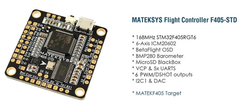 Matek F405-STD BetaFlight STM32F405 Controllore di Volo Incorporato OSD Invertitore per SBUS Ingresso