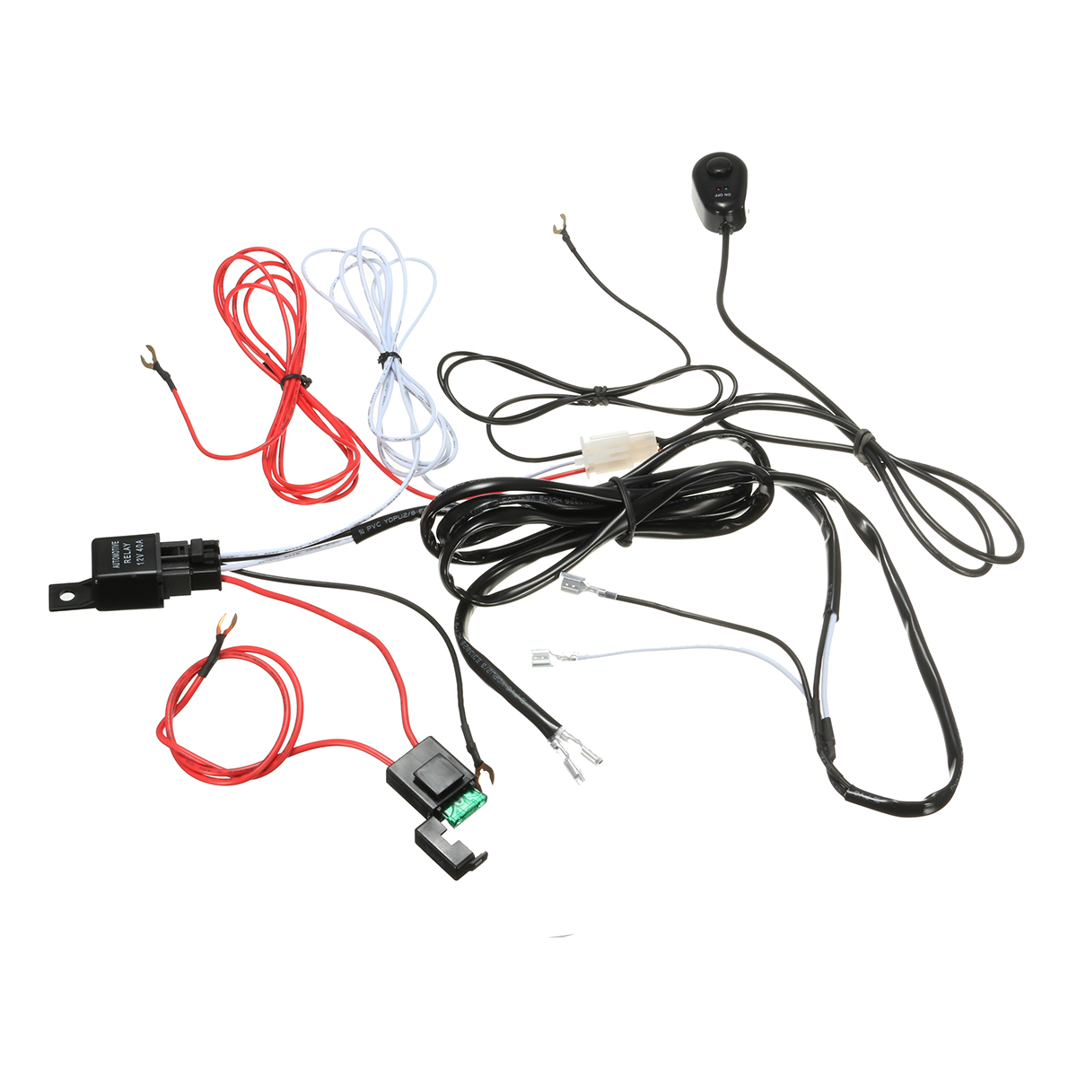 Wiring Harness Kit With Relay On Off Control Switch 12v 40a 2m For Led Drl Daytime Running Light