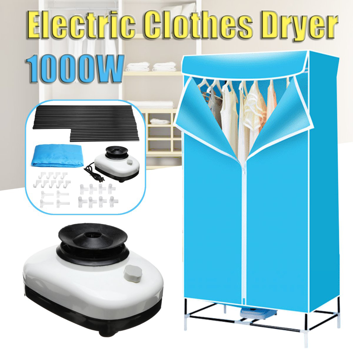 1000w portable electric clothes dryer
