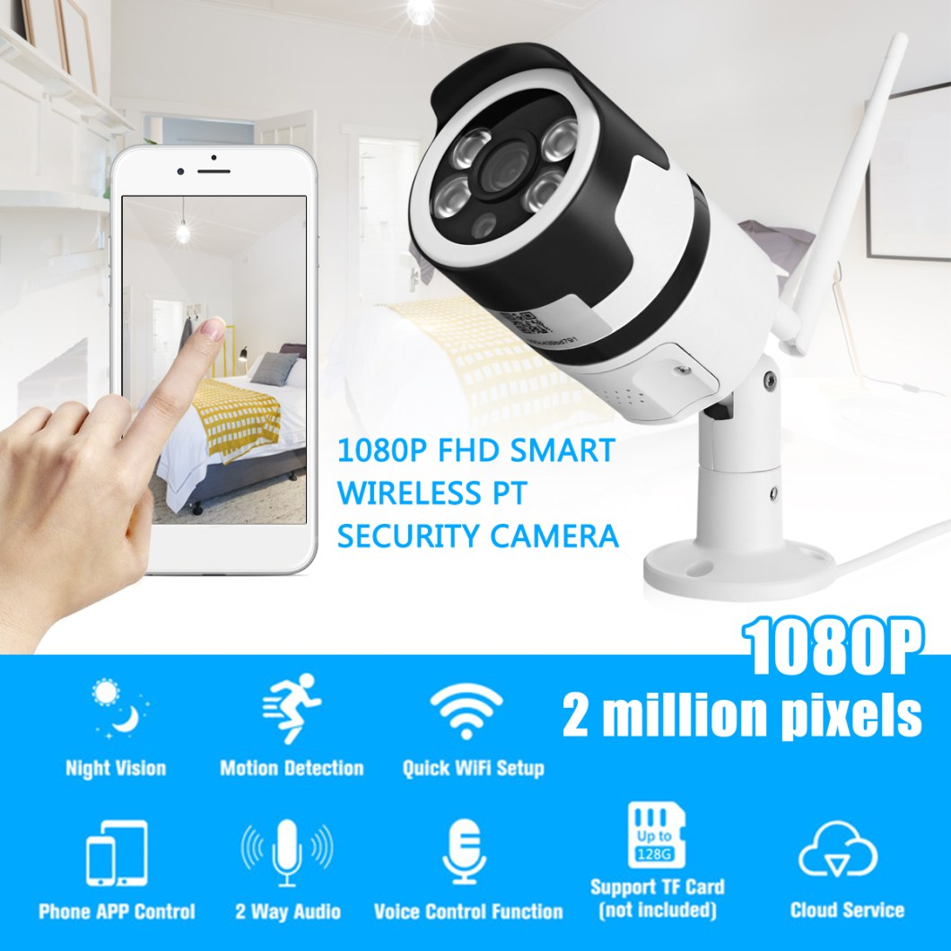 1080P 2MP WiFi Home Security IP Camera Motion Detection Night Vision For Alexa Echo 9