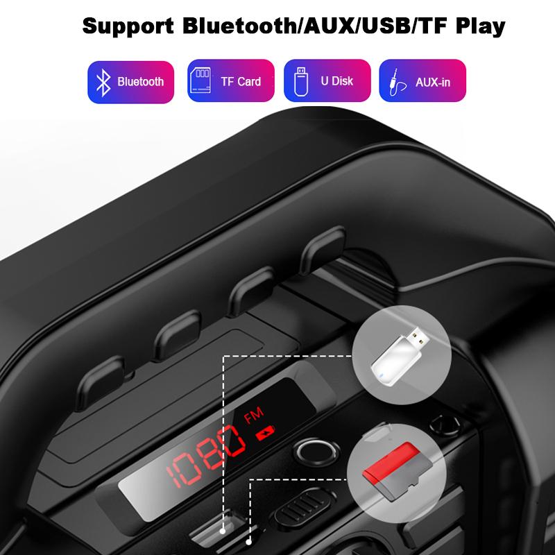 Bakeey Wireless Bluetooth Speaker Kalaoke Colorful Light Stereo TF Card FM Radio Portable Speaker 16