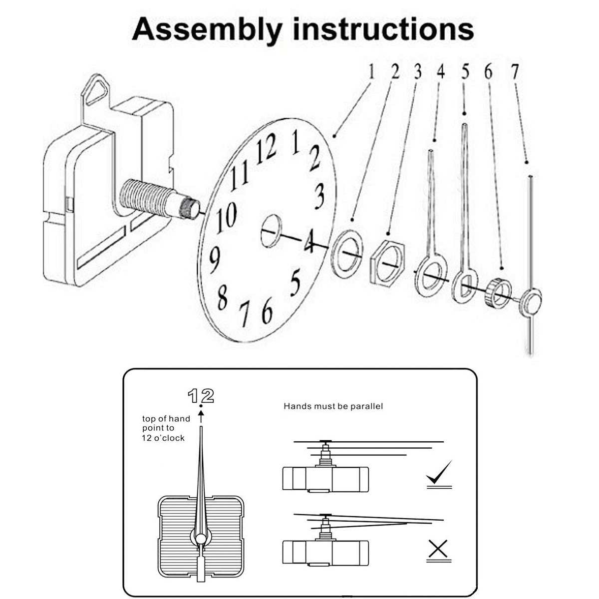15mm Spindle Wooden Quartz Clock Hour Minute Second Hand
