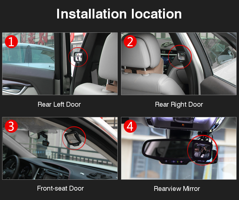 Convex Magnetic 270° Wide Angle Car Blind Spot Mirror Safe Mirror for Car Rear Second Row Seats