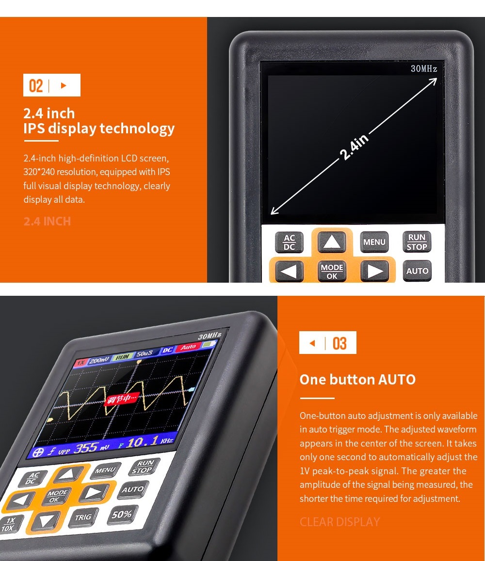 DSO338 Handheld Oscilloscope 30MHz Bandwidth 200M Sampling Rate 2.4 Inch IPS Screen 320*240 Resolution Technology Built-in 64M Storage  Built-in 3000mah Lithium Battery 37