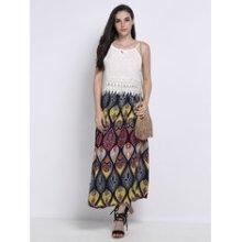 Vintage Women Bohemian Bow High Waist Print Pleated Maxi Skirt