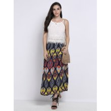 Vintage Women Bohemian Bow High Waist Print Pleated Maxi Skirt