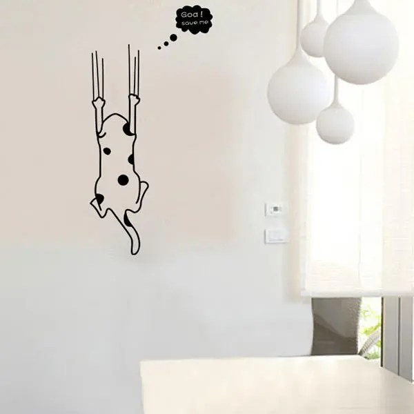 Kartun Kucing Putih Hitam Stiker Dinding Dekorasi Rumah Kulkas Dapur