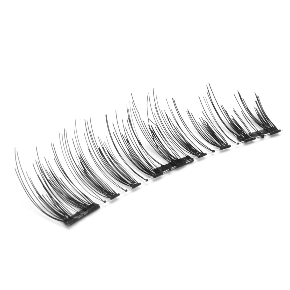 4pcs Triple Magnetic False Eyelashes 3d Black Long Thick