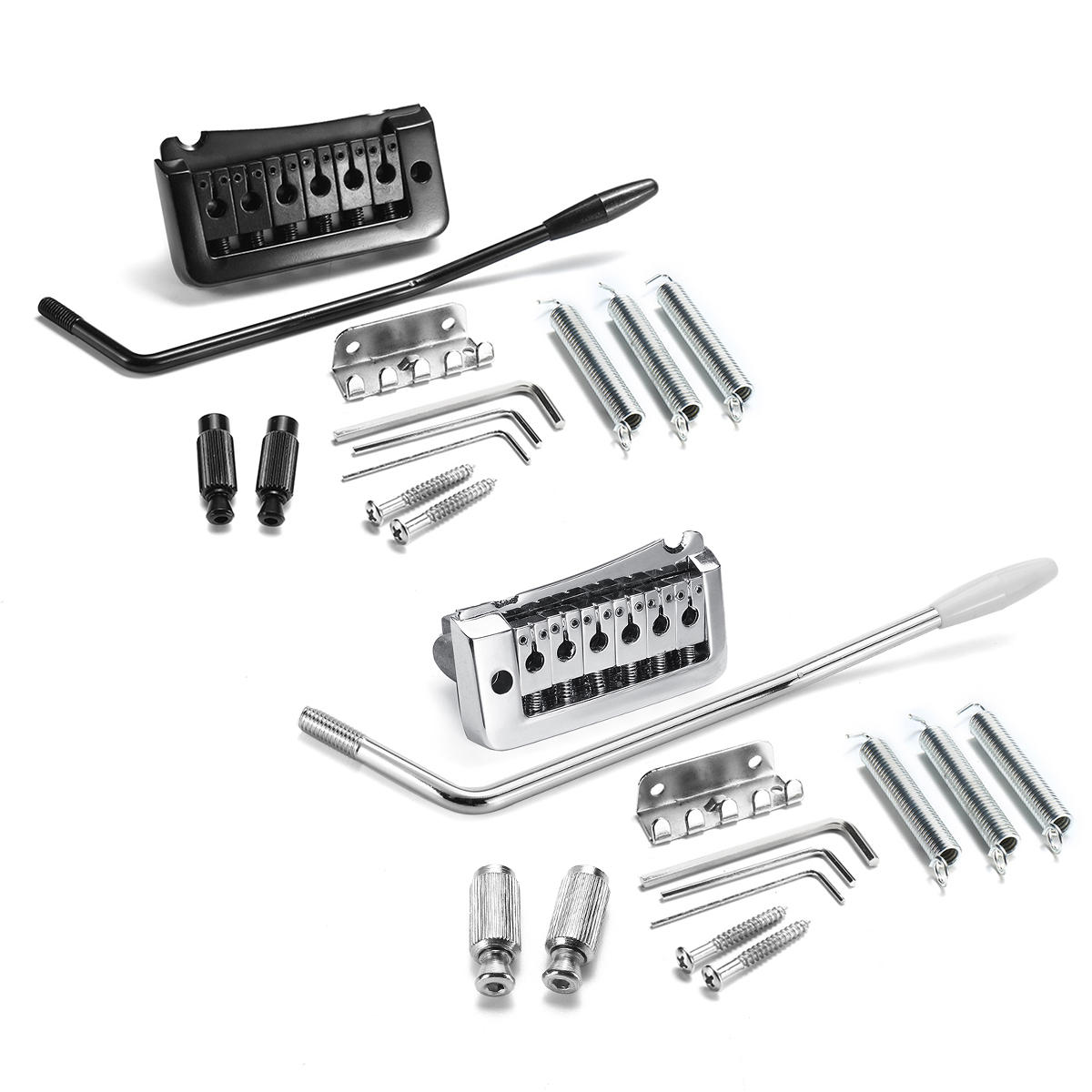 13pcs Black Silver Guitar Bridge Double Tremolo System Whammy Bar Accessory Sale