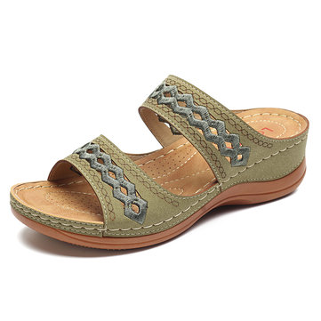 US$29.99 70% LOSTISY Handmade Stitching Hollow Casual Comfy Sandals Women's Shoes from Bags & Shoes on banggood.com