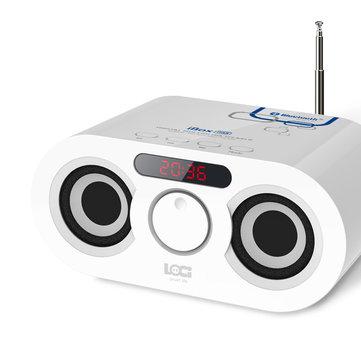 Loci D68 White FM USB AUX TF Wireless Bluetooth Clock Stereo Bumping Bass Speakers Dual Speaker Alarm Clock
