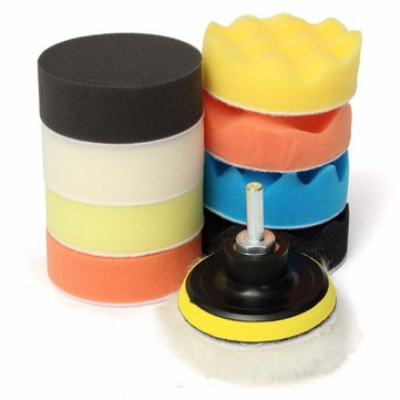 Description: 10pcs 80mm Buffing Pad 3 Inch Polishing Pad Kit For Car Polisher  Specifications: Material: Sponge Form: Roundness Wavy + Roundness Plane Diameter: 80mm Thickness: 30mm Handle Length: 26mm Thread Size: M10 Thread Color: Orange/Black/Blue/Yellow/Off-white Quantity: 4 x Polishing Flat Pads 4 x Polishing Wave Pads 1 x Adhesive Backer Pad 1 x Woolen Buffer  Features: 1. Regular waxing and polishing set up a protective barrier against hostile attacks from the environment your furniture and vehicle's appearance will be protected for years to come. 2. Used for all kinds of coat paints's waxing, polishing and sealing glaze, to clean and improve their lightness. 3. Adopt with High strength polymerase sponge, abrasion resistance to 8 grades; 4. Embedded design for tighter, bonded-type design for more convenient replacing. 5. Cleaning products with 15-25 degrees water. 6. Can be used in pneumatic or electric polishing machine. 7. Complete Professional Wool and Foam Pad Buffing, Polishing and Finishing System. 8. Adhesive backing, you can change pads just in seconds. 9. Long service life, well polinshing effect,and easy operating.  Package Included: 1x (10pcs) Polishing Pad Kit  More Details: