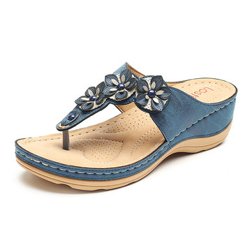US$31.98 60% LOSTISY Women Beach Flip Flops Soft Casual Comfortable Wedge Sandals Women's Shoes from Bags & Shoes on banggood.com