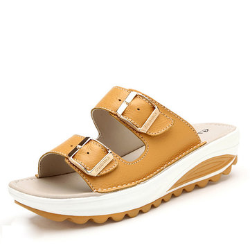 US$36.17 52% Socofy Big Size Soft Leather Buckle Peep Toe Slippers Slip On Beach Platform Sandals Women's Shoes from Bags & Shoes on banggood.com