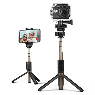 *New version BlitzWolf BW-BS3 Sports versatile 3 in 1 bluetooth tripod selfie sticks not only apply to most 3.5~6.0 inches smart phones but also add (smart phone holder switch to) 1/4 camera mount (adapter) holder compatible with most digital camera,sport camera,VR camera,DV, mini DLP Projector and other 1/4 screw mount devices etc. *If your sport camera like GoPro (Hero 1-6, Session ) has not 1/4 screw mount,  you can buy a 1/4 screw adapter (click here) to fix BS3 Sports selfie sticks. Versatile 3 in 1 and 2 Mode for Camera and Smart Phone:  More than your usual selfie stick, the BS3 is a versatile mini tripod, table top tripod and selfie stick.Replaceable 1/4 camera mount holder compatible with most digital camera,sport camera,VR camera,DV, mini DLP Projector etc.   Removable Bluetooth Remote Controller:  You can separate the controller from the stick and enjoy portable shutter control. Setup the tripod, slide out the controller and you can  snap selfies at a distance. The Bluetooth Remote Control is easy to pair and operate, all you need to do is pair to your phone and  press the button to capture a shot. The included 65mAh rechargeable battery can capture up to 50000 selfies.   Full 360 Degree Rotation: The head of the selfie stick can rotate a full 360 degrees for capturing the perfect shot. The clamp can also be rotate up to 203 degrees.   Wide Compatibility: We built the BS3 to fit almost every device with a 3.5-6 inch screen and the remote control requires no extra APP.   Light and Stable: Built with aluminum alloy and rubber, the BS3  is lightweight and holds steady in  your hands. The tripod stand also has added rubber  support for extra stability.    18-Month Warranty:  We believe in our products and we back them all with an 18 months warranty. We are also dedicated to providing friendly support and assistance.   Specifications: Brand BlitzWolf Model BW-BS3 Sports Maximum Length 600mm Smart Phone Cradle Diameter 55mm~85mm±2mm (Fits most 3.5-6 inch smartphones) Smart Phone Cradle Rotation 203-vertical,360-horizontal Camera Cradle Rotation          203-vertical,360-horizontal Stutter control Bluetooth Remote Battery Capacity 65mAh(Li-polymer,Micro Port Charging) Bluetooth 3.0 Dimensions 46mm*198mm*27mm Certificated FCC, CE, ROHS   Package includes: 1*  BW-BS3 Sports Selfie Stick 1*  BW-BS3 Sports Bluetooth Remote Controller 1*  1/4 Camera Mount Holder 1*  Smart Phone Holder/Camera Mount Holder Fixed Screw 1*  Micro USB Charging Cable 1*  Warranty Card 1*  User manual