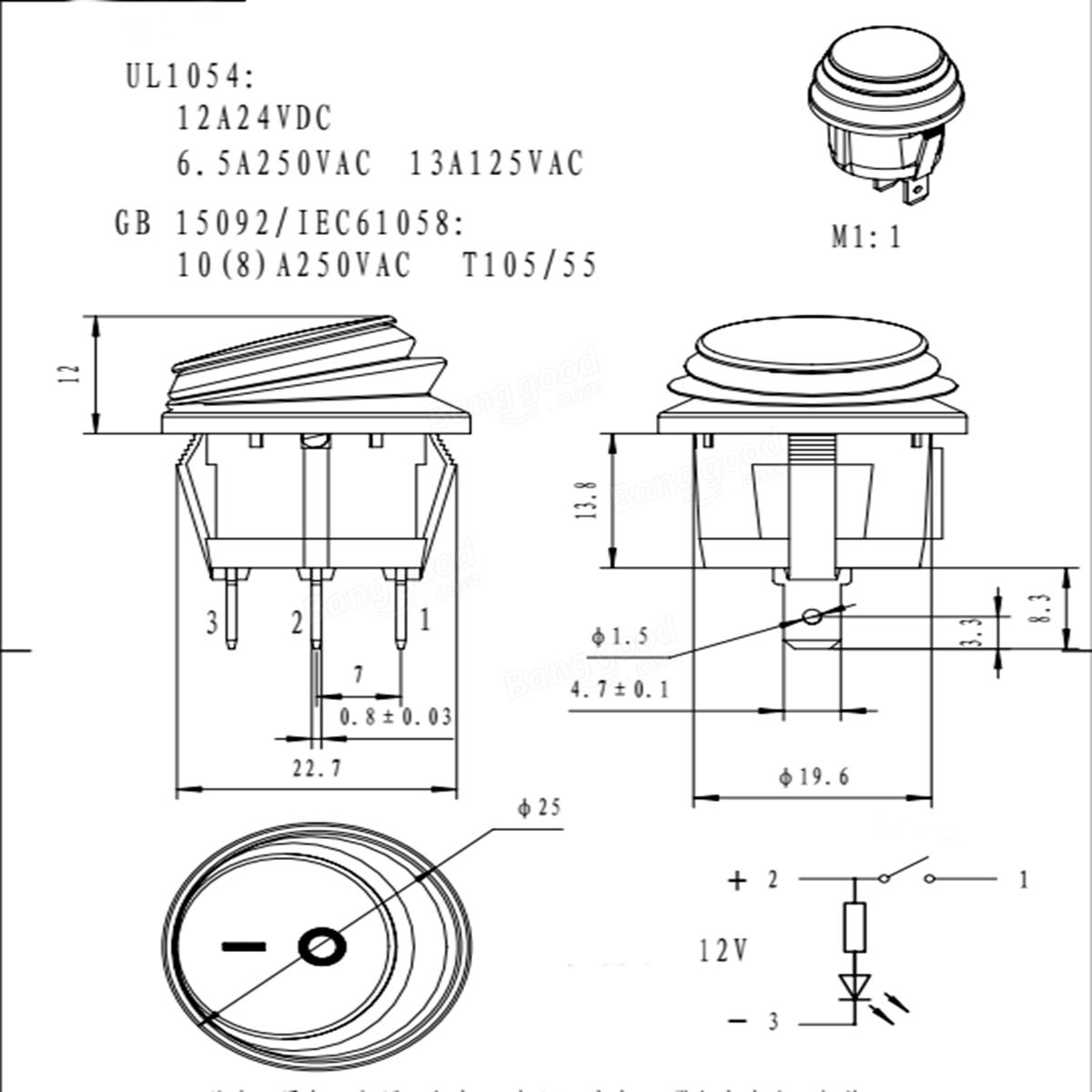 3 Pin Spst 12v 12a Led Interruptor De Encendido Apagado
