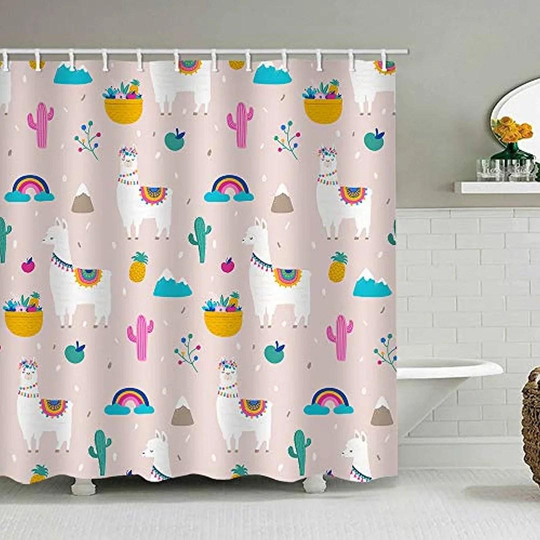 alanroye 72 x 72 inches llama alpaca cactus shower curtain