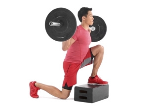 Reverse Barbell Box Lunge