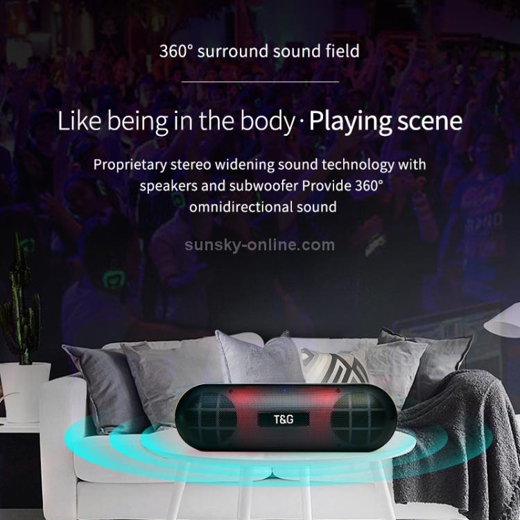 SUNSKY - T&G TG148 Portable Stereo Audio Super Bass LED Lantern Pill  Wireless Bluetooth Speaker(Black)