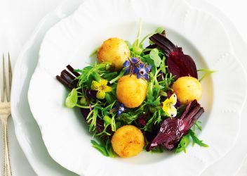 Fresh Recipe Petite salade with crumbed goats cheese