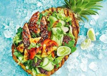 Fresh Recipe Sticky chicken salad bowl with caramelised pineapple recipe