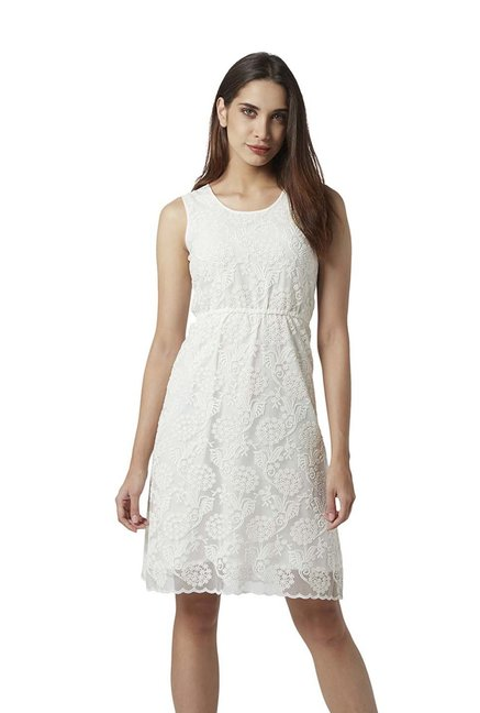 Park Avenue Woman White Embroidered A-Line Dress
