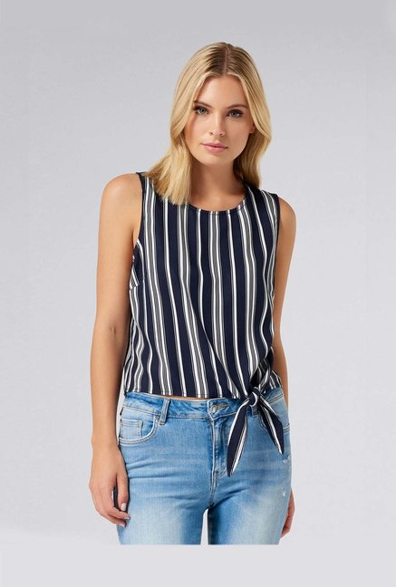 Forever New Navy Striped Top