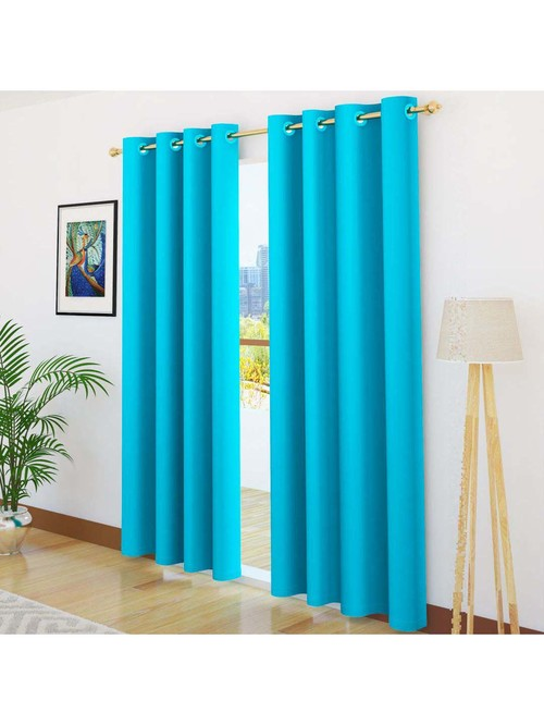 story home blackout sky blue 7 ft door curtains set of 2