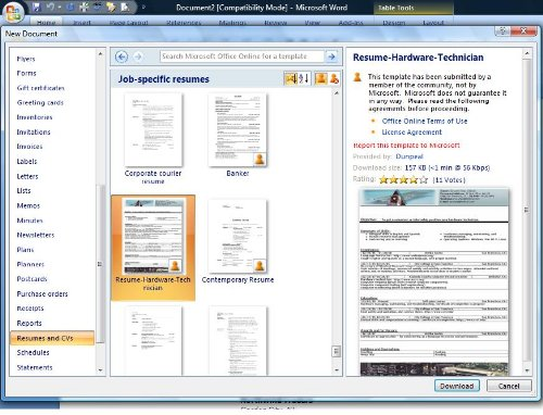 free resume templates in word format techblissonline com resume template word 2007