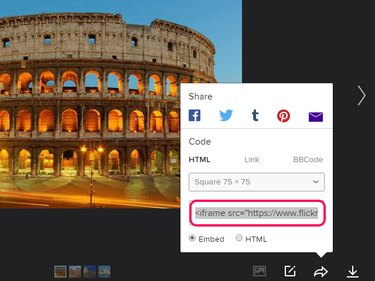 Embed code at the bottom of the Share window.