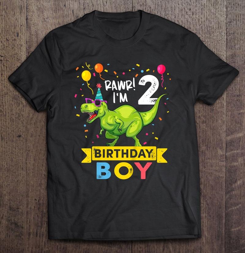 Kids 2 Year Old Shirt 2nd Birthday Boy T Rex Dinosaur