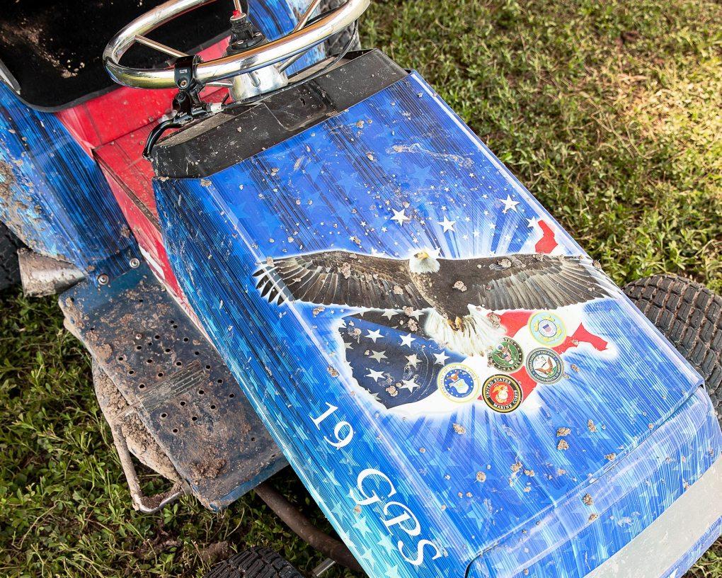 A lawn mower, post-race.