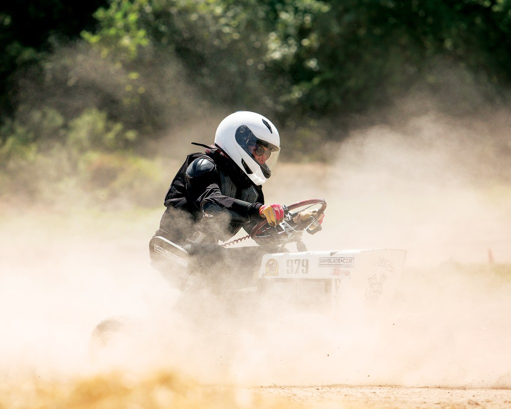 Sammie Neel competes at the Lone Star Mower Racing Association lawn mower races at the Kendall County Fairgrounds in Boerne, on September 4, 2021.
