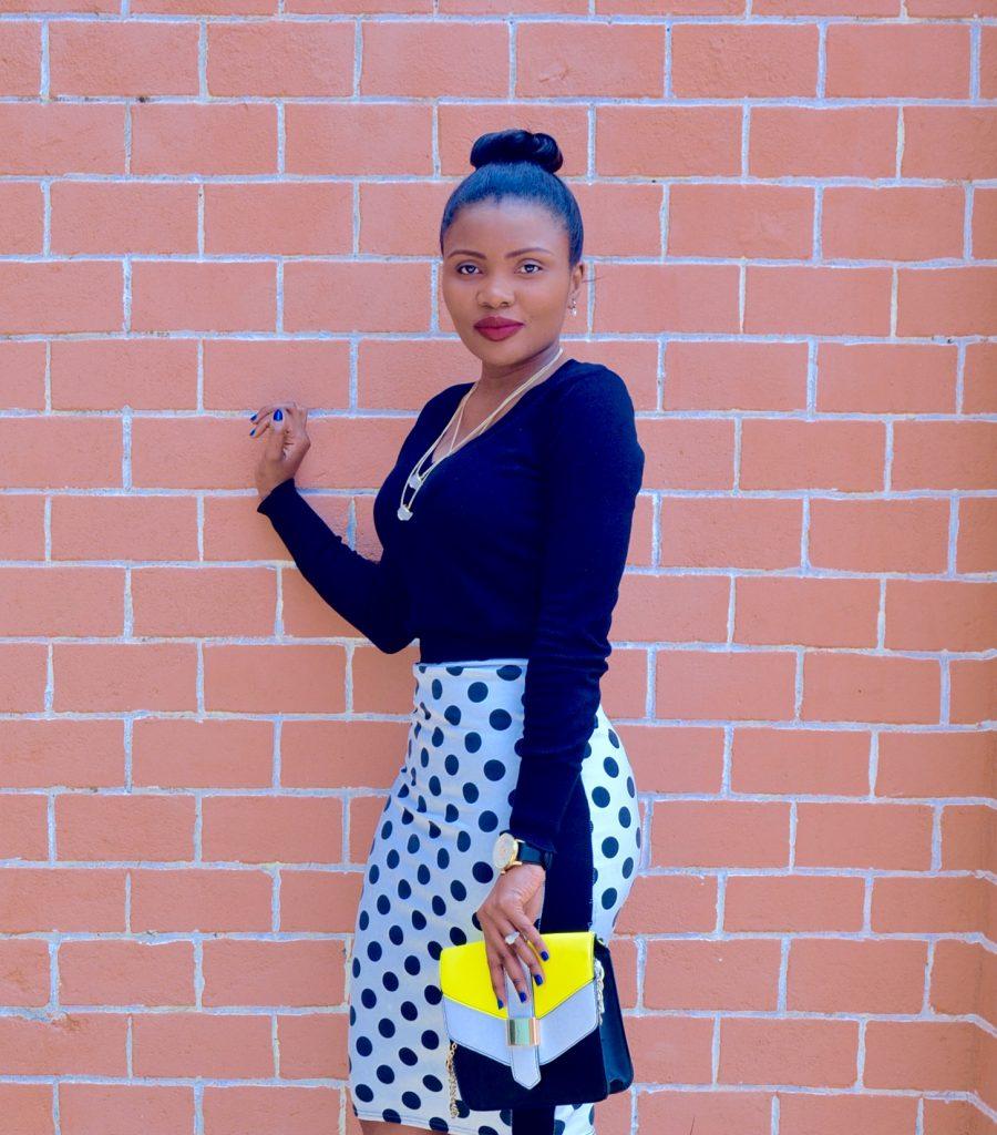polka dot skirt outfit 2