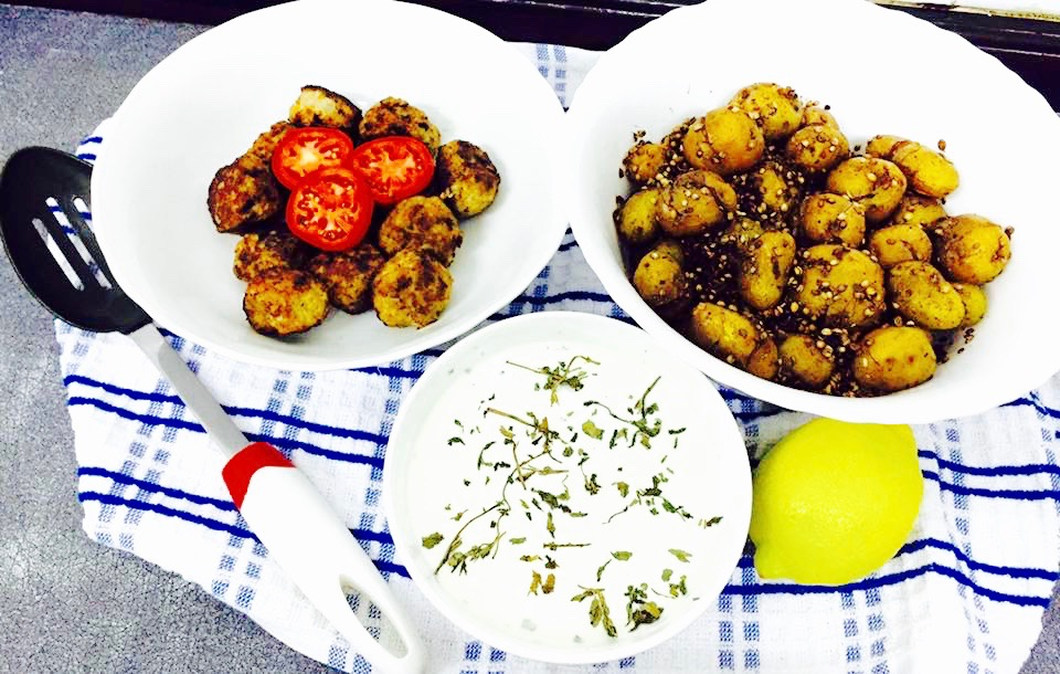 tossed baby potatoes recipe  with meatballs