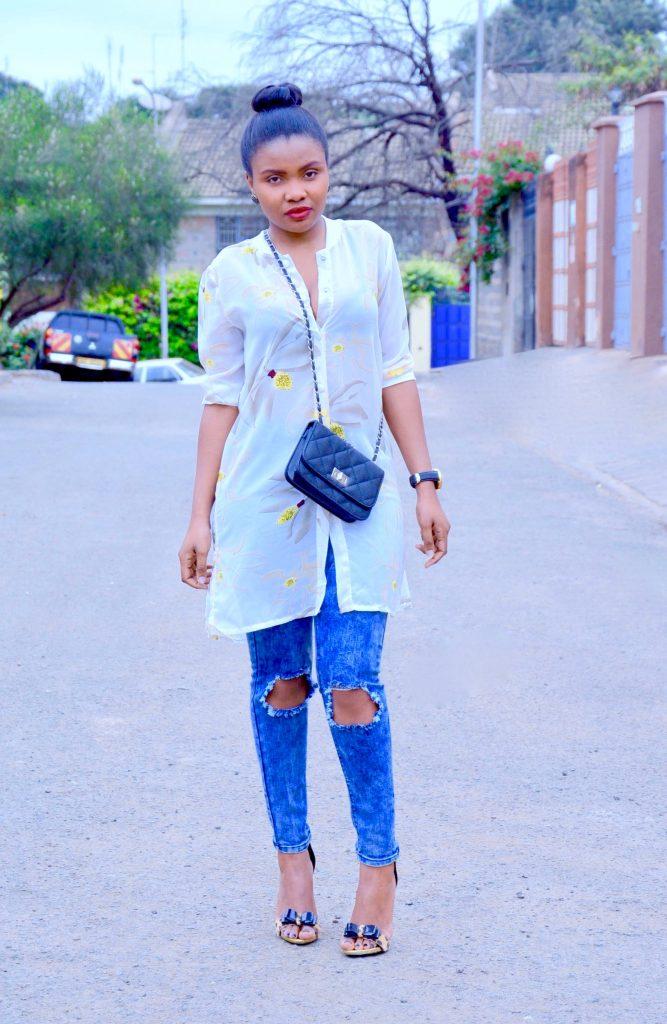Shirt dress with distressed denim