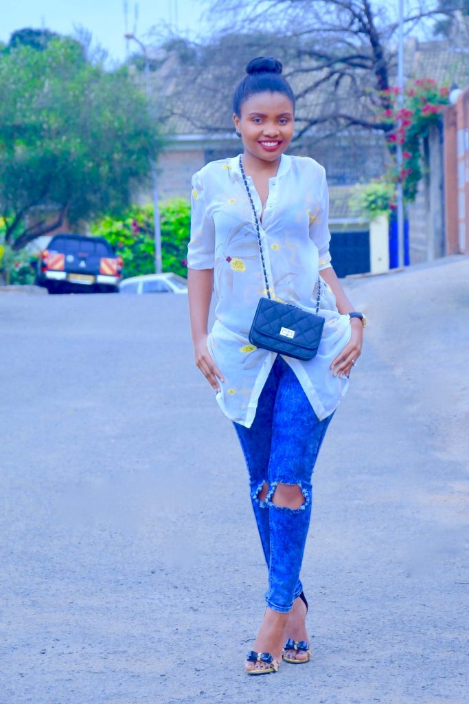 Shirt dress with jeans