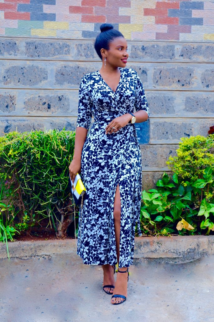 maxi wrap dress outfit 3