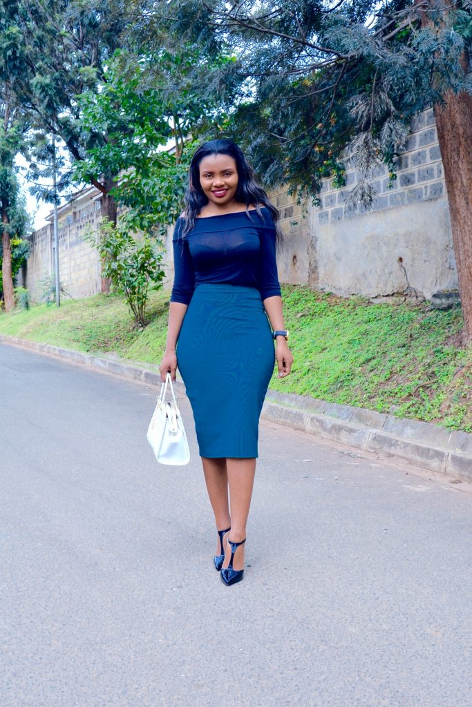 bardot top / off-shoulder top with midi skirt outfit 4