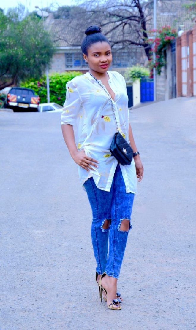 shirt dress with distressed denim 2