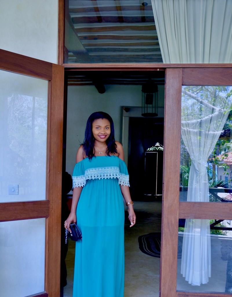 turquoise off-shouder dress 3