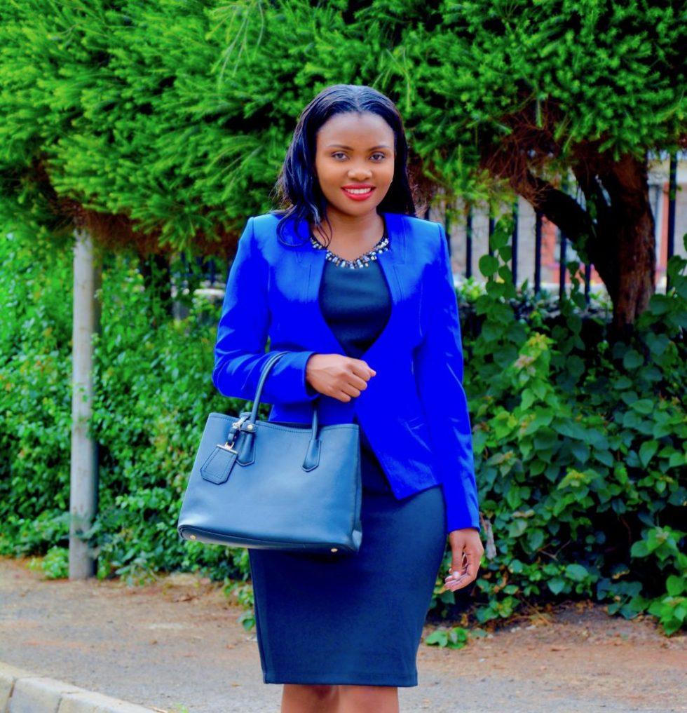 Figurestyle boutique blue blazer with black dress