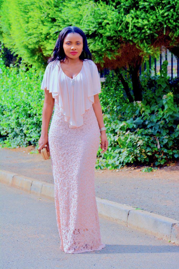 Figurestyle boutique blush evening gown