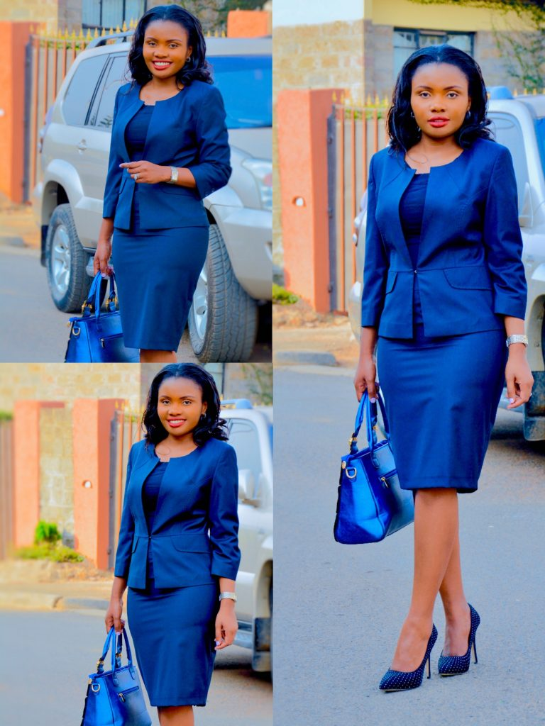 FigureStyle boutique office wear navy skirt suit