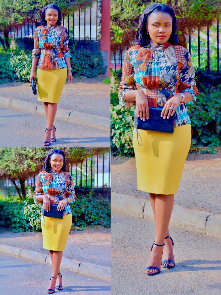 Figurestyle Boutique office wear mustard skirt