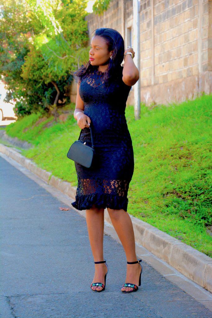 little black dress lace pregnancy outfit