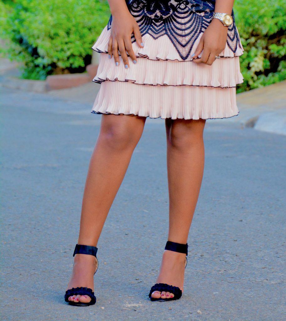 lace apricot dress black heels