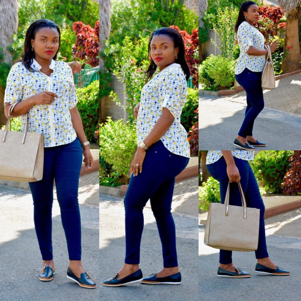 navy-pants-floral-top holiday look