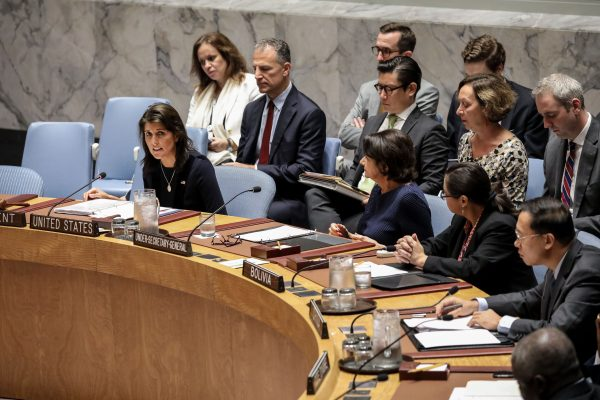 Ambassador Nikki Haley speaks during a meeting of the United Nations Security Council